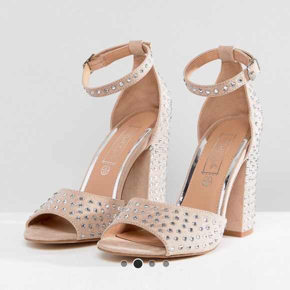 20ba66933ad Truffle collection gem stone block heel sandals.